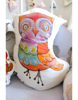 Pillow Owl, 40x60 cm, white