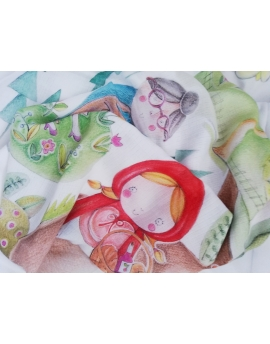 Swaddle, bamboo and cotton, Little Red Riding Hood, size 120x120 cm