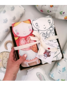 Set of 2 Swaddles, bamboo and cotton, Little Red Riding Hood, size 120x120 cm