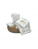 Layette set, Alice's Magical World- bedding, bamboo and cotton swaddle and bumper pad