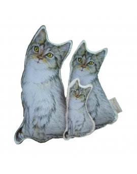 Kotek sensoryczny Maszkotka 40 cm bawełna i szary Minky