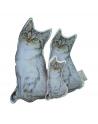 Kotek sensoryczny Maszkotka 30 cm bawełna i malinowy minky